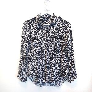 Zara Woman Small Cheetah Print Button Down Blouse